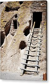 Acrylic Print featuring the photograph Bandelier Desert Ladder by Andrea Hazel Ihlefeld