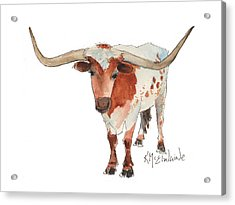 Texas Longhorn Bandero Watercolor Painting By Kmcelwaine Acrylic Print
