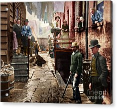 Bandit's Roost By Jacob Riis Colorized 20170701 Acrylic Print