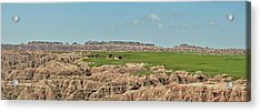 Badlands Panorama Acrylic Print by Nancy Landry