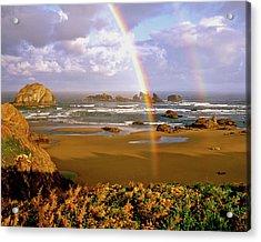 Bandon Beach Rainbow Sunrise Acrylic Print by Ed  Riche