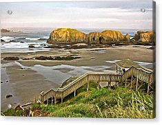 Bandon Beach Stairway Acrylic Print