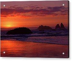 Bandon Beach Sunset Acrylic Print by Jim Nelson