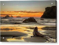 Bandon Orange Glow Sunset Acrylic Print