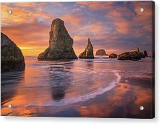 Acrylic Print featuring the photograph Bandon's New Years Eve Light Show by Darren White