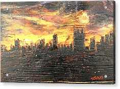 Bangkok City Sunset Glow Acrylic Print
