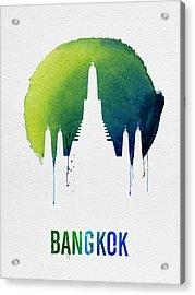 Bangkok Landmark Blue Acrylic Print by Naxart Studio