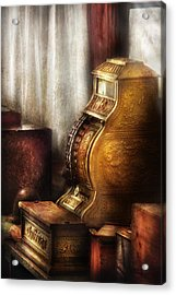 Banker - Brass Cash Register  Acrylic Print by Mike Savad