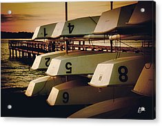Acrylic Print featuring the photograph Banks Channel Boat Stack by Phil Mancuso
