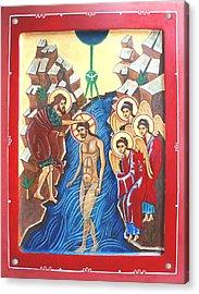 Baptism Of Christ             Theophany Acrylic Print by Phillip Schwartz