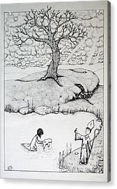 Acrylic Print featuring the drawing Baptism Of Ted E. Bear by Josean Rivera