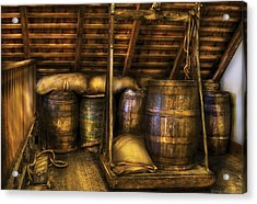 Bar - Wine Barrels Acrylic Print by Mike Savad