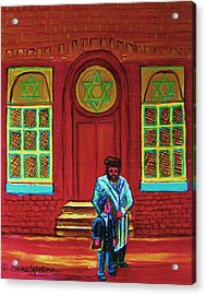 Bar Mitzvah Lesson At The Synagogue Acrylic Print by Carole Spandau