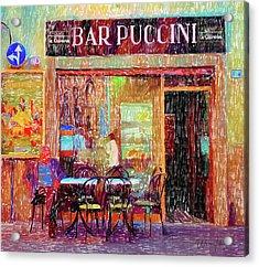 Bar Puccini Lucca Italy Acrylic Print by Wally Hampton