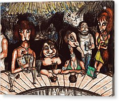 Acrylic Print featuring the drawing Bar Scene by Rae Chichilnitsky