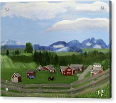 Acrylic Print featuring the painting Bar U Ranch by Linda Feinberg
