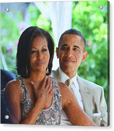 Barack And Michelle Obama Acrylic Print by Asar Studios
