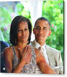 Barack And Michelle Obama Acrylic Print by Celestial Images