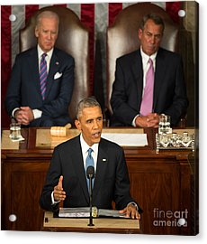 Barack Obama 2015 Sotu Address Acrylic Print by Science Source