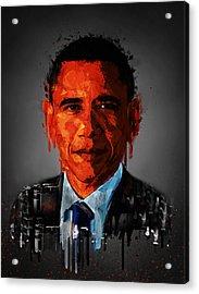 Barack Obama Acrylic Portrait Acrylic Print by Georgeta Blanaru