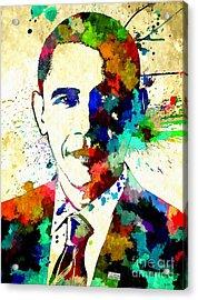 Barack Obama Grunge Acrylic Print by Daniel Janda