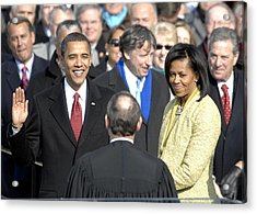 Barack Obama Is Sworn In As The 44th Acrylic Print by Everett
