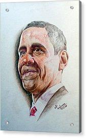 Barack Obama Acrylic Print by Jayantilal Ranpara