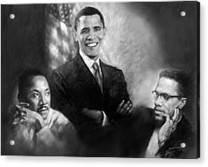 Barack Obama Martin Luther King Jr And Malcolm X Acrylic Print by Ylli Haruni