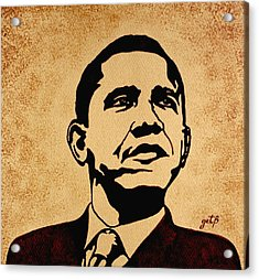 Barack Obama Original Coffee Painting Acrylic Print