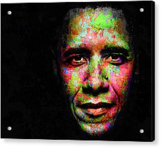 Acrylic Print featuring the mixed media Barack Obama by Svelby Art