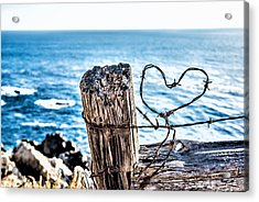 Barb Wire Heart Acrylic Print
