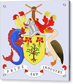 Barbados Coat Of Arms Acrylic Print by Movie Poster Prints