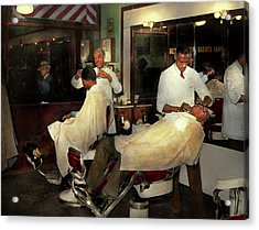 Acrylic Print featuring the photograph Barber - A Time Honored Tradition 1941 by Mike Savad