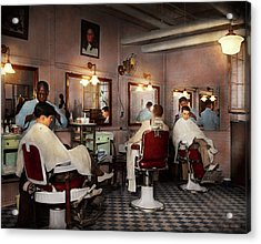 Acrylic Print featuring the photograph Barber - Senators-only Barbershop 1937 by Mike Savad