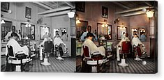 Acrylic Print featuring the photograph Barber - Senators-only Barbershop 1937 - Side By Side by Mike Savad