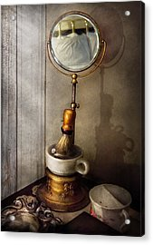 Barber - The Morning Shave  Acrylic Print by Mike Savad