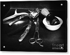 Barber - Things In A Barber Shop - Black And White Acrylic Print by Paul Ward