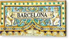 Barcelona - Azulejo 2 Acrylic Print by Andrea Mazzocchetti