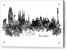 Barcelona Black And White Watercolor Skyline Acrylic Print