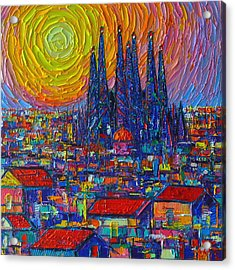 Barcelona Colorful Sunset Over Sagrada Familia Abstract City Knife Oil Painting Ana Maria Edulescu Acrylic Print