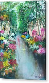 Barcelona Flower Market Acrylic Print by Sally Seago