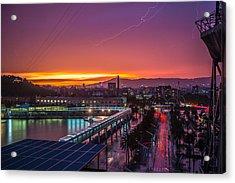 Barcelona Lightning Storm Acrylic Print by Ryan McKee