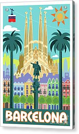 Barcelona Retro Travel Poster Acrylic Print