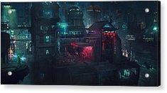 Barcelona Smoke And Neons Eixample Acrylic Print by Guillem H Pongiluppi