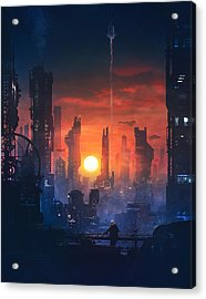 Barcelona Smoke And Neons The End Acrylic Print by Guillem H Pongiluppi