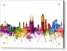 Barcelona Spain Cityscape 06 Acrylic Print by Aged Pixel