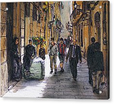 Barcelona Street Sketch Acrylic Print by Randy Sprout