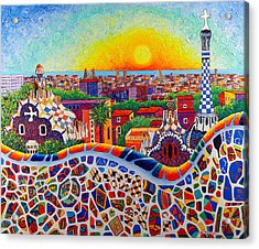 Barcelona Sunrise Colors From Park Guell Modern Impressionism Knife Oil Painting Ana Maria Edulescu Acrylic Print