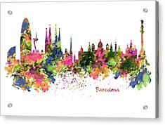 Barcelona Watercolor Skyline Acrylic Print by Marian Voicu