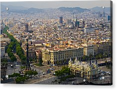 Barcelona With Tree-lined Las Ramblas Acrylic Print by Annie Griffiths